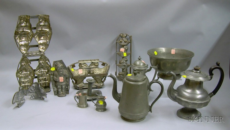 Five Metal and Pewter Figural Chocolate and Ice Cream Molds and Seven Pieces of   Pewter Ware