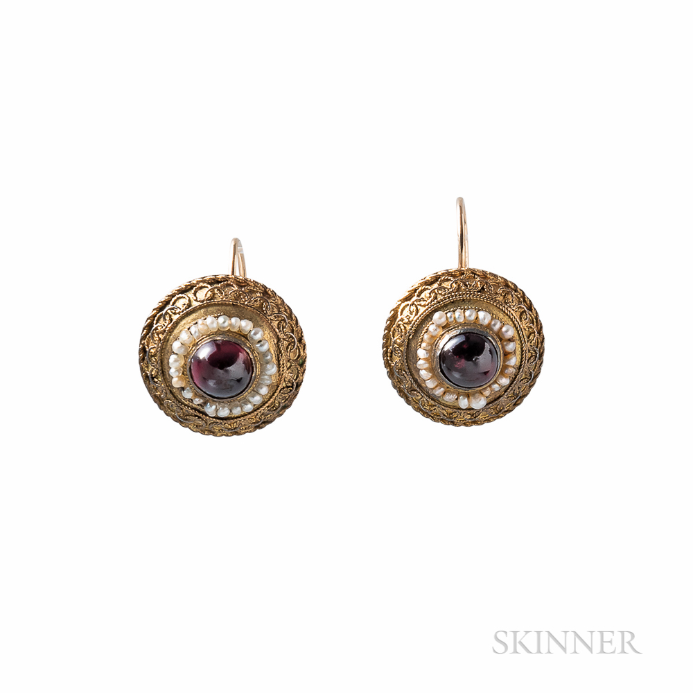 Antique Gold and Garnet Earrings