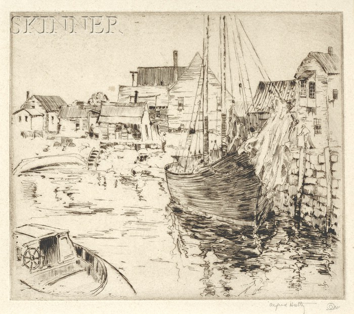 Alfred Heber Hutty (American, 1877-1954)      The Quiet Harbor.