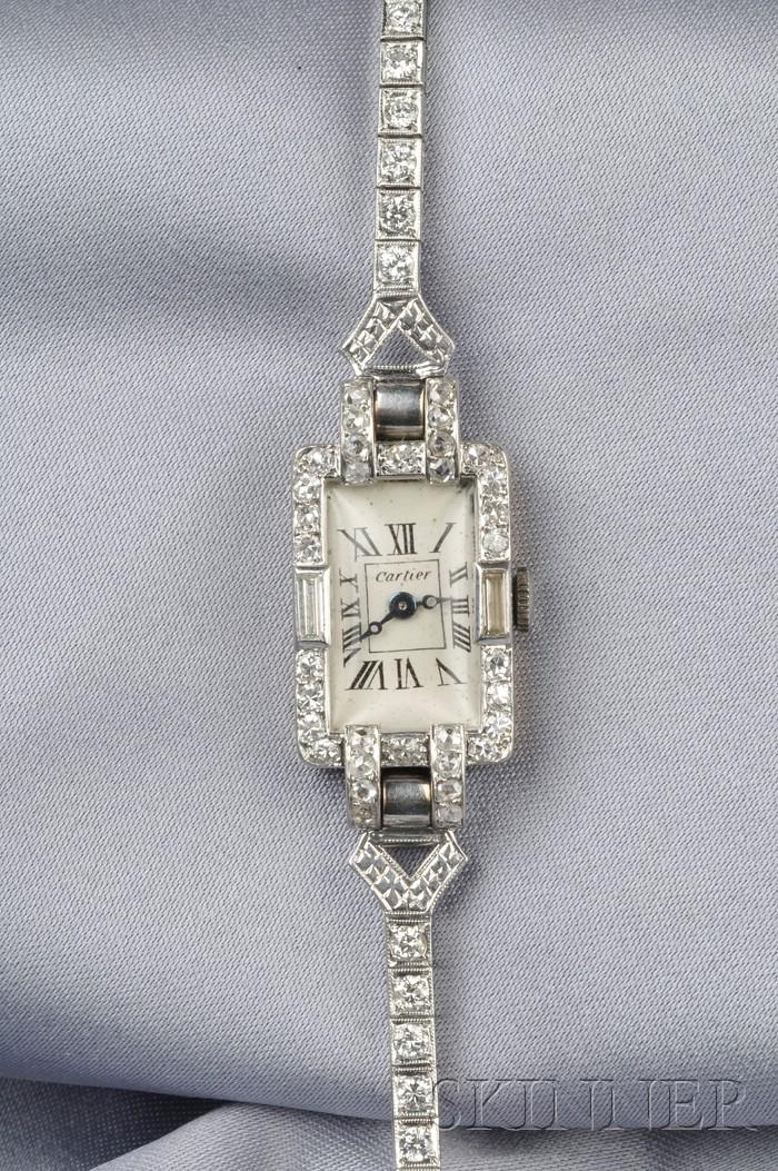 Art Deco Platinum and Diamond Wristwatch, Cartier