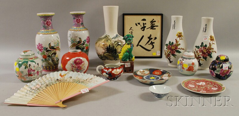 Fourteen Pieces of Assorted Asian Ceramics, a Framed Calligraphic Panel, and a Hand   Fan