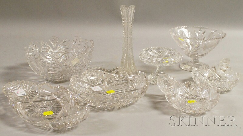 Eight Colorless Cut Glass Table Items