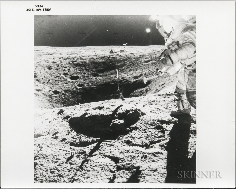 Apollo 16, On Moon, John Young Stands on the Rim of the Plum Crater.