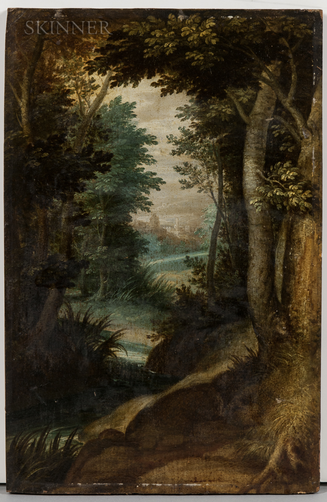 Flemish School, 17th Century Style      Distant Landscape through a Forest Glade