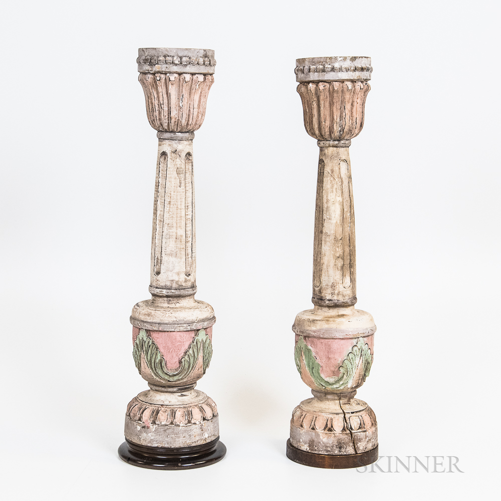Pair of Carved and Painted Candleholders