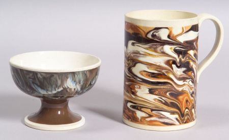 Mochaware Pottery Mug and Footed Bowl