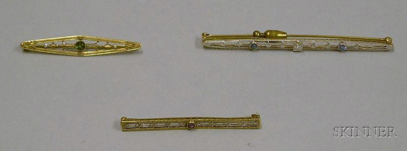 Three 14kt Gold Bar Pins