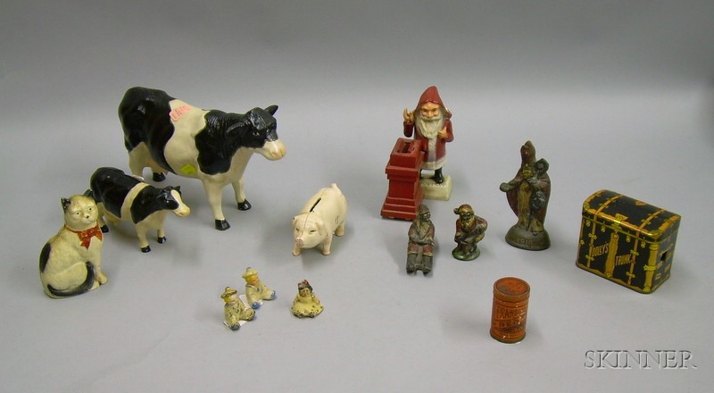 Eleven Painted Cast Iron Figurals, a Lithographed Red Top Snuff Tin, and a   Trunk-form Bank Tin