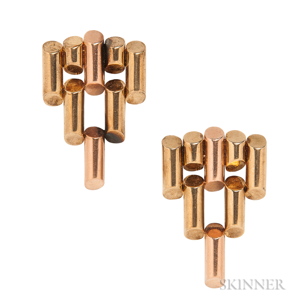 Retro 14kt Bicolor Gold Dress Clips, Tiffany & Co.