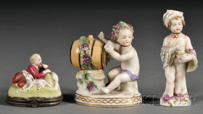 Three Small Continental Figural Porcelain Articles