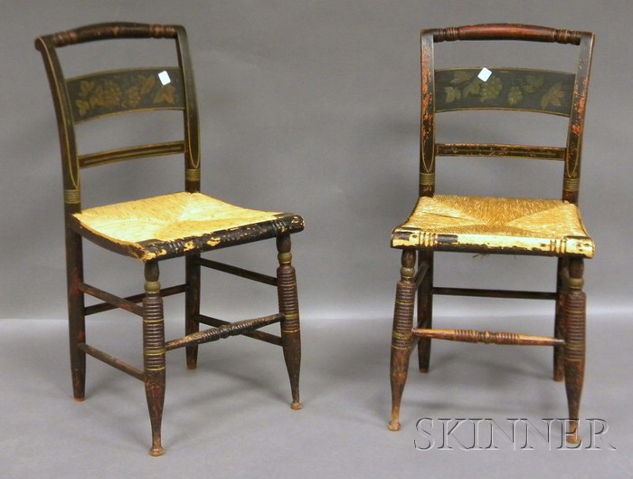 Pair of Painted and Stencil-decorated Fancy Side Chairs