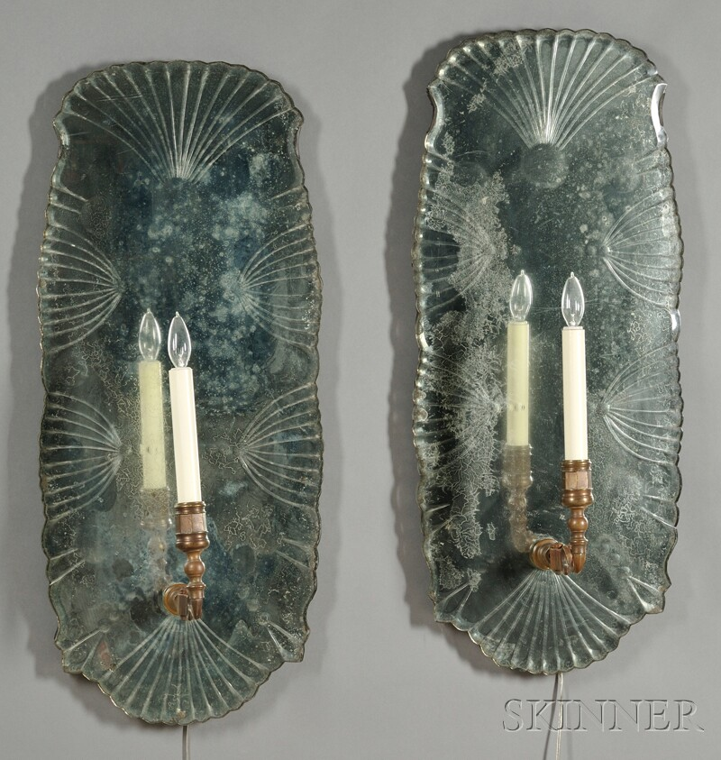 Pair of Mirror and Bronze Sconces