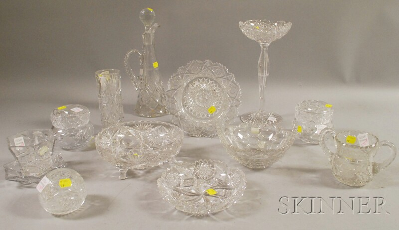 Thirteen Colorless Cut Glass Table Items