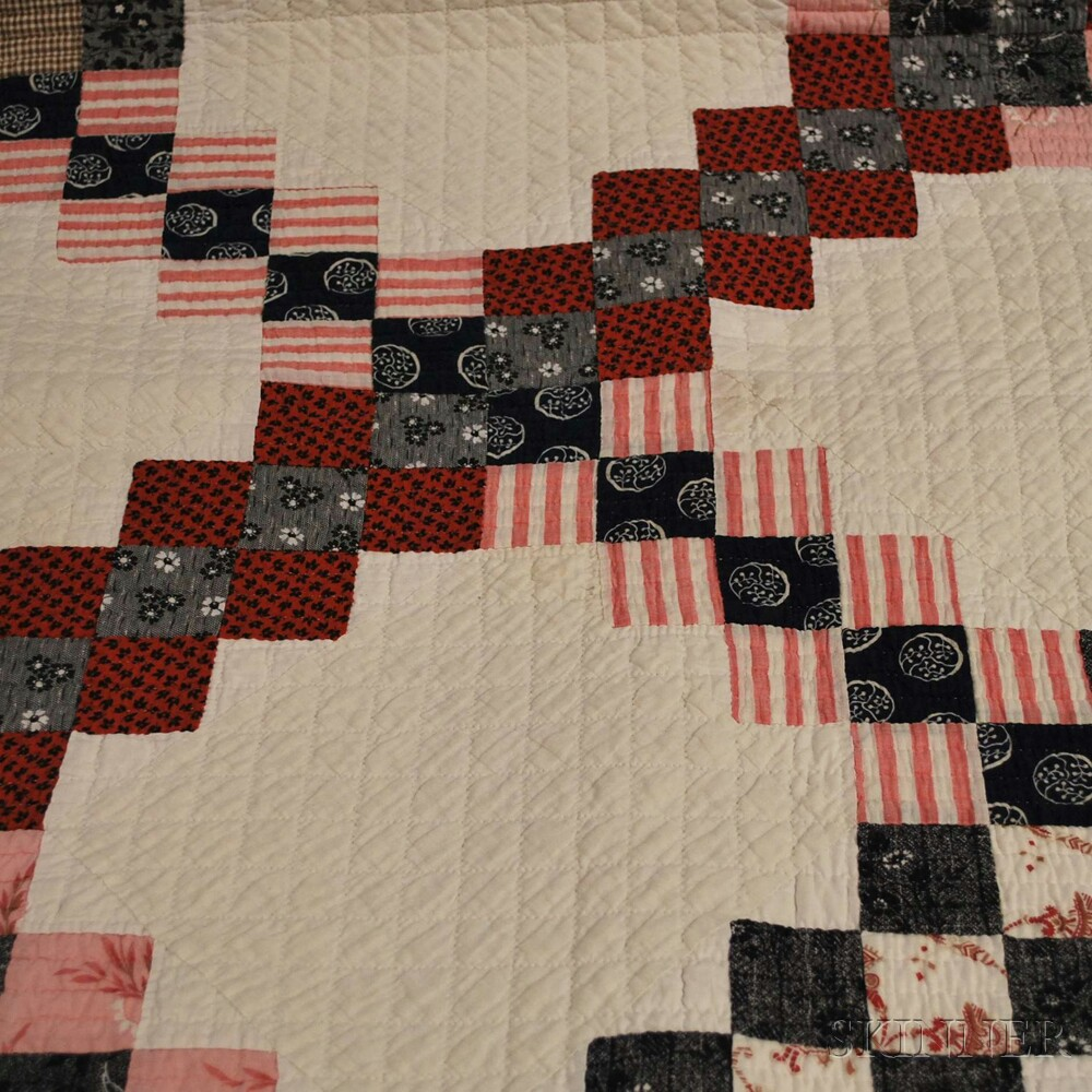 Hand-stitched Pieced Cotton Double Irish Chain Pattern Quilt