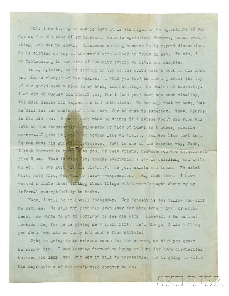 Kerouac, Jack (1922-1969) Typed Letter, [9 June 1940].