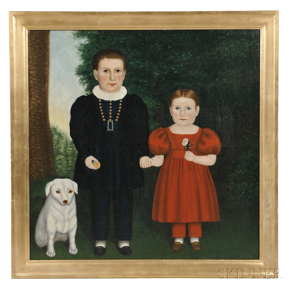 Ruth Whittier Shute (New Hampshire, 1803-1882)      Portrait of a Brother and Sister with Their Dog