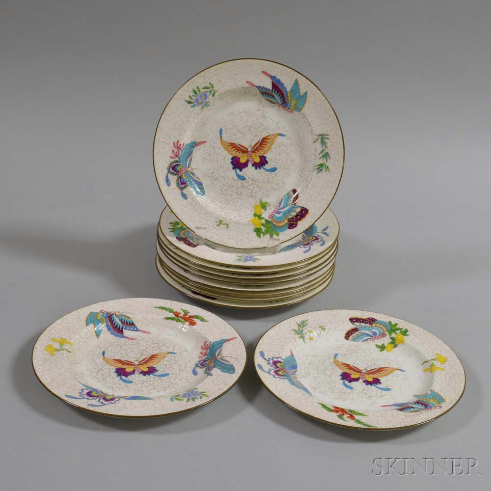 Set of Eleven Wedgwood Butterfly-decorated Salad Plates