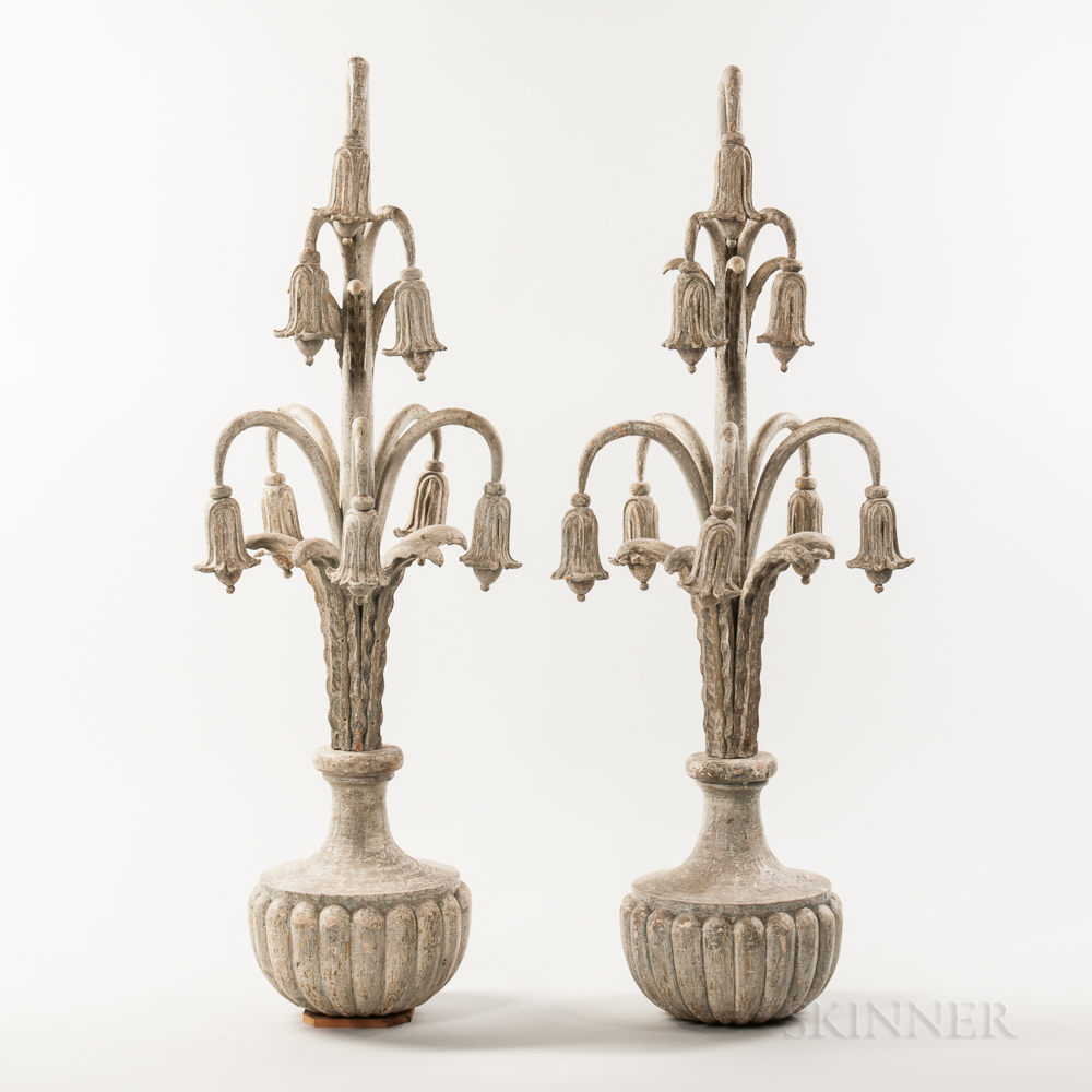 Pair of Carved and Painted Bellflower Finials