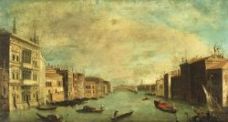 Manner of Francesco Guardi (Italian, 1712-1793)  Canal Scene With View to the Rialto