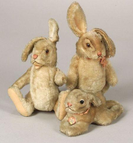 Five Steiff Mohair Rabbits