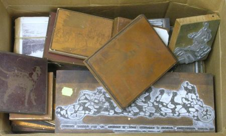 Approximately Thirty-three Copper and Metal Mounted Printing Blocks