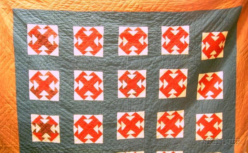 "Pieced Cotton ""Double T"" Pattern Quilt"