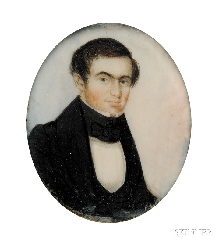 Portrait Miniature of a Gentleman Dressed in a Black Coat and Cravat
