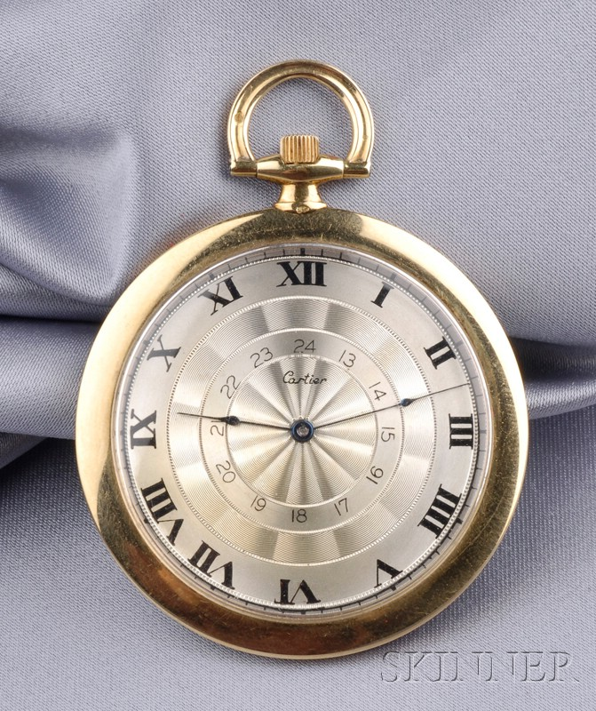 Art Deco 18kt Gold Open Face Pocket Watch, Cartier