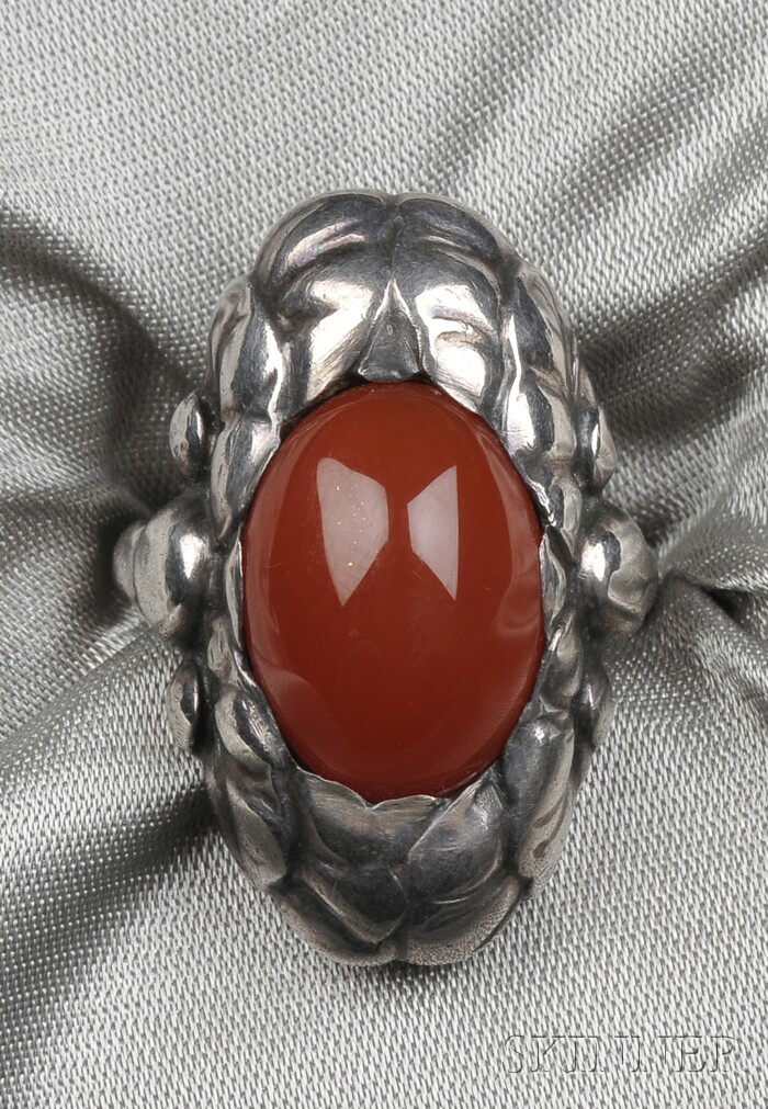 Sterling Silver and Carnelian Ring, Georg Jensen