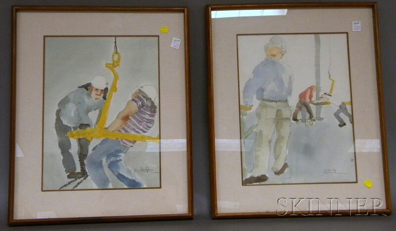 20th Century American School Set of Four Watercolor on Paper Portraits of Blue   Collar Workers