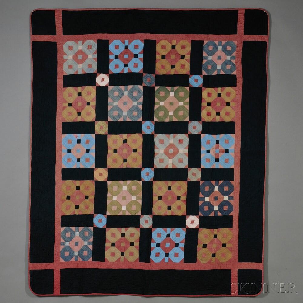 Amish Pieced Cotton Snowball Pattern Quilt