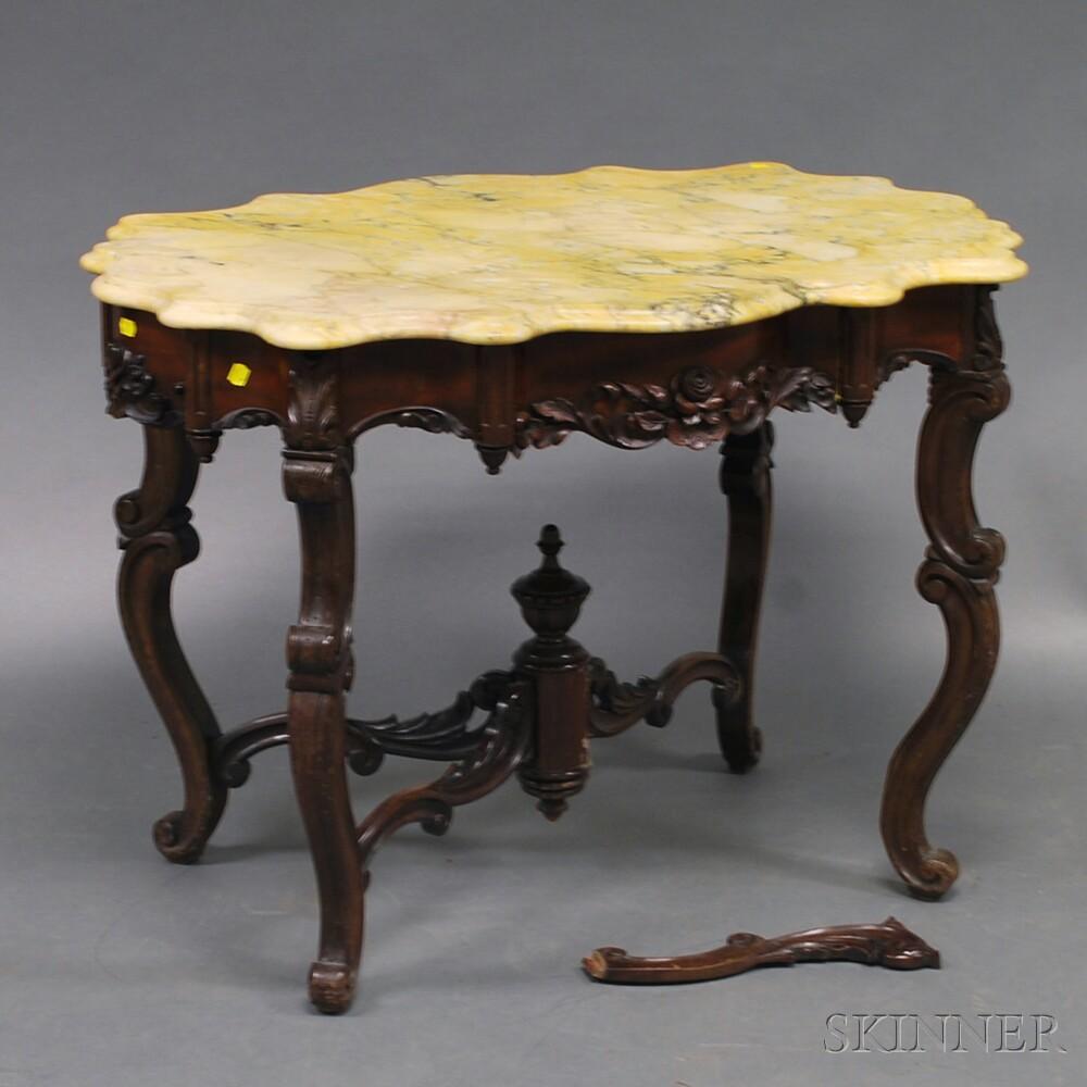 Victorian Rococo Revival Marble-top Center Table