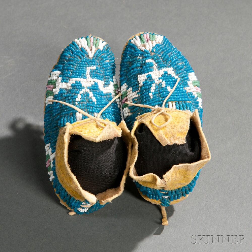 Pair of Cheyenne Beaded Hide Infant's Moccasins