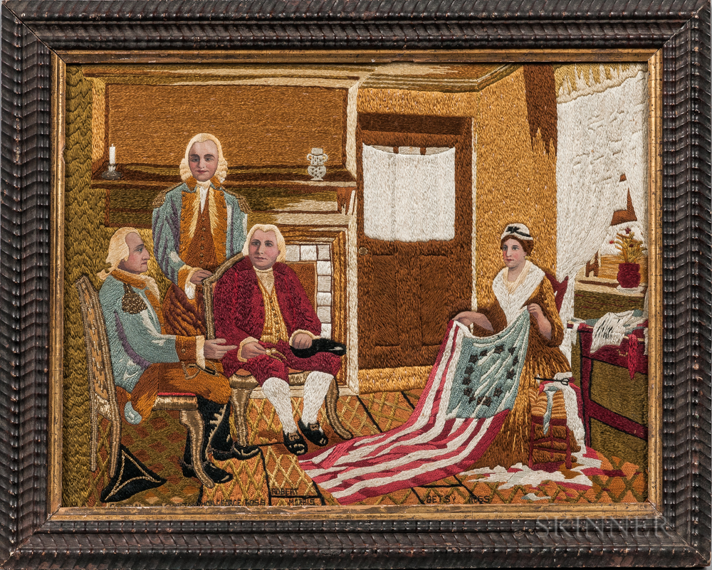 Needlework Picture of Betsy Ross Presenting the First American Flag to George Washington