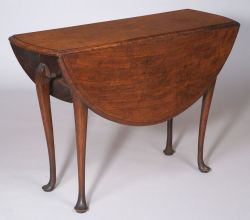 Queen Anne Figured Walnut Inlaid Drop-leaf Dining Table