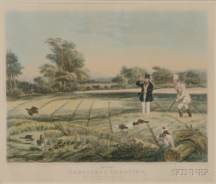 After Francis Calcraft Turner (British, c. 1782-1846) Lot of Three Sporting Subjects: January Snipe Shooting; September Shooting; an...