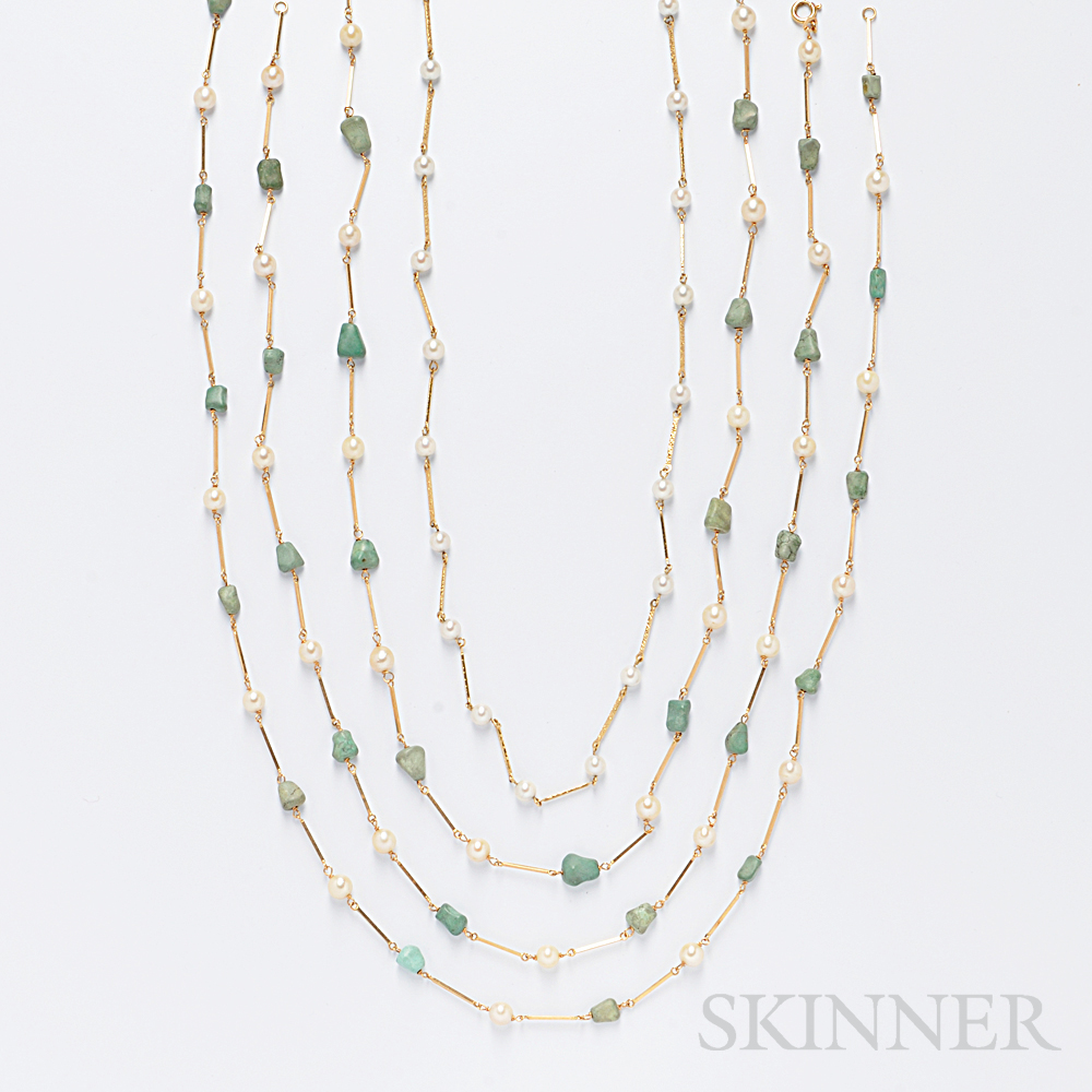 Four Cultured Pearl and Turquoise Chains