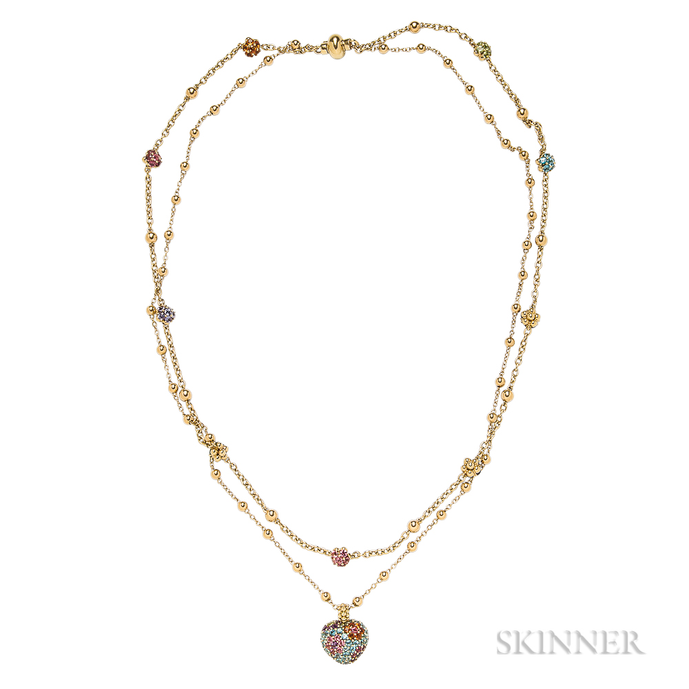 18kt Gold Gem-set Necklace and Pendant, Pasquale Bruni, Gioielmoda