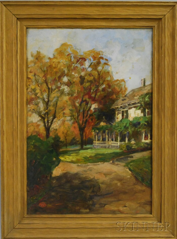 Raymond Woog (French, b. 1875)      White House with Early Fall Foliage
