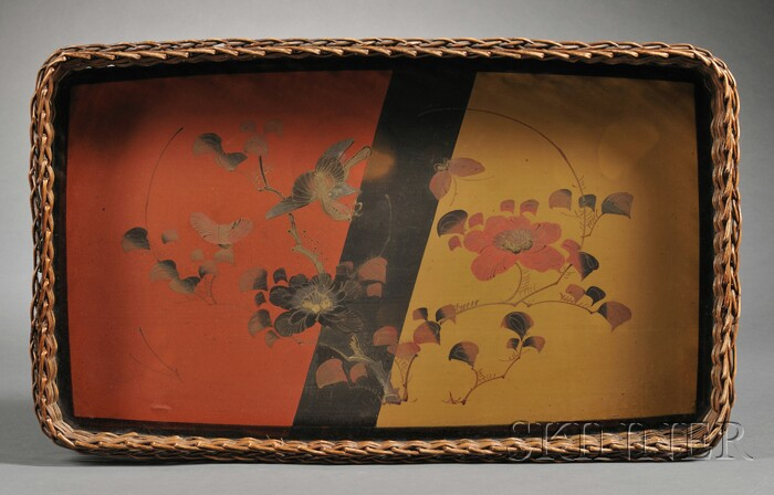 Japanese Lacquer and Wicker Tray