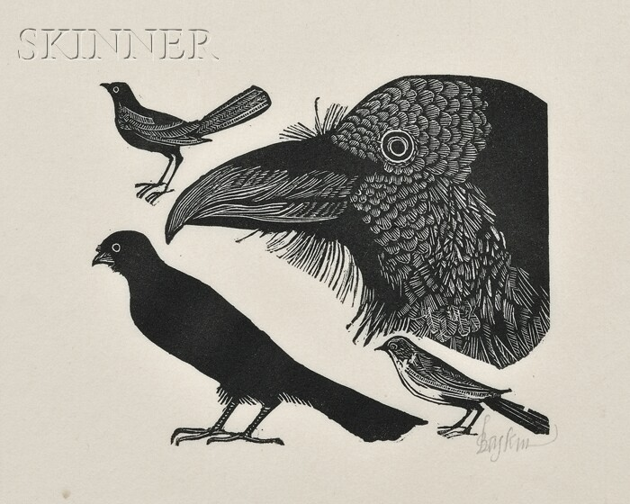 Leonard Baskin (American, 1922-2000)      Lot of Four Animal Subjects: Crows