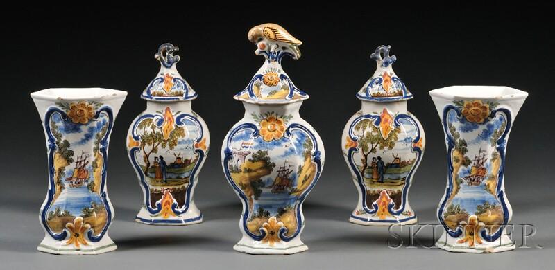Assembled Five-piece Dutch Delft Vase Garniture