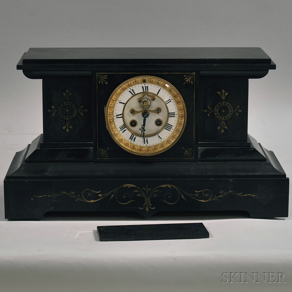 Incised-stone and Gilt-decorated Mantel Clock
