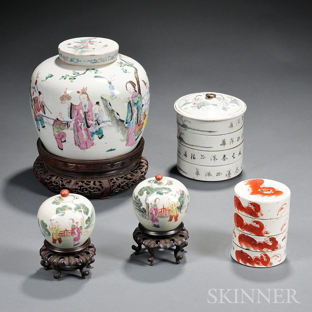 Five Enameled White Porcelain Items
