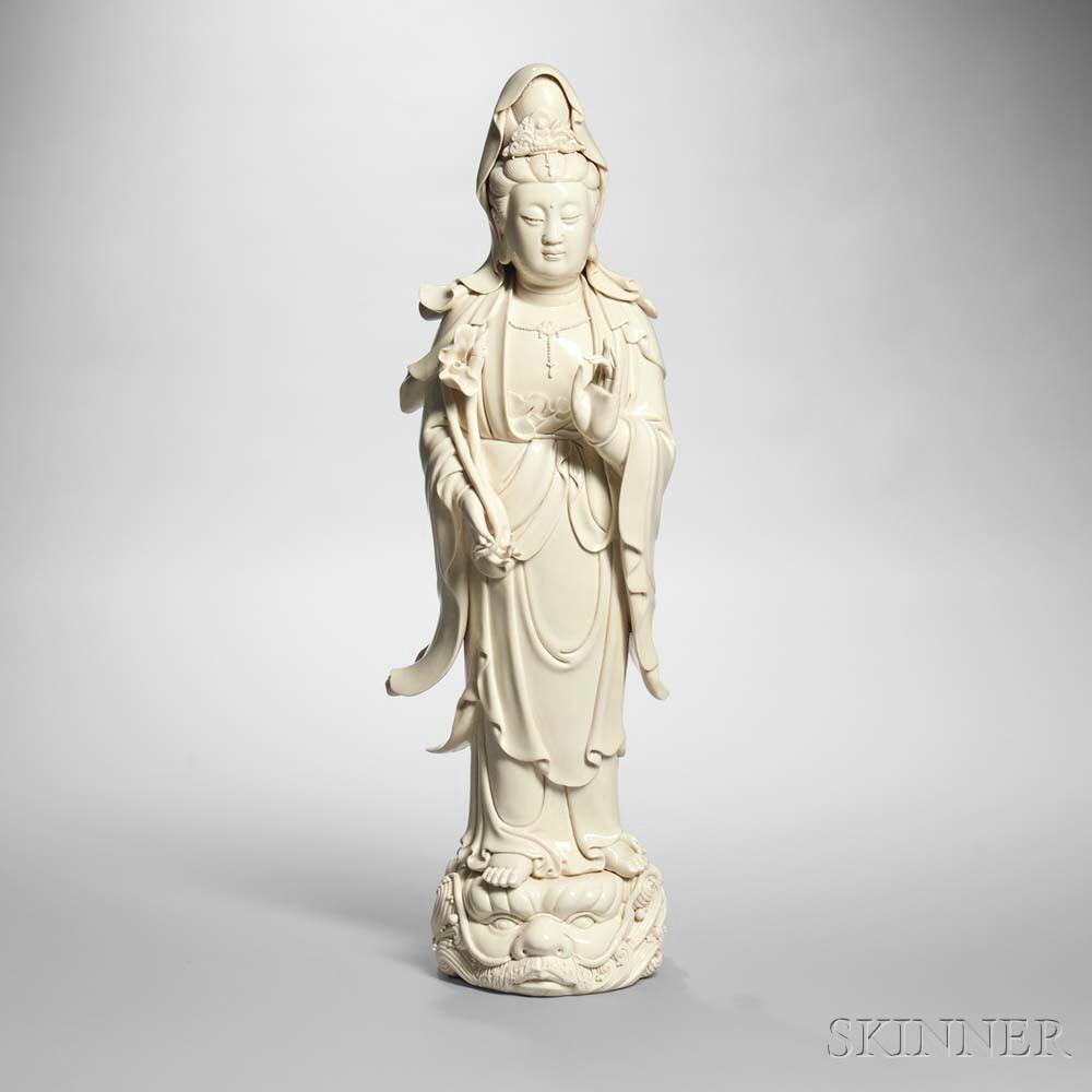 Large Blanc-de-chine Figure of Guanyin