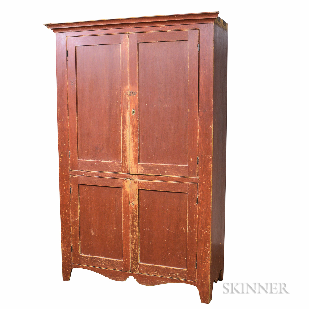 Red-painted Pine Cupboard