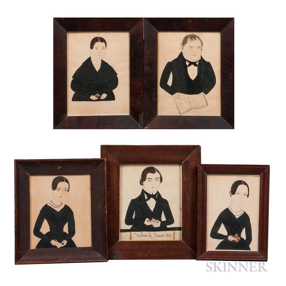 Jane A. Davis (Connecticut/Rhode Island, 1821-1855)      Five Bowen Family Portraits, Thompson, Connecticut