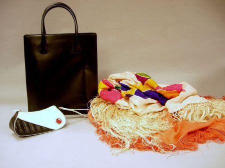 Giorgio Armani Black Leather Handbag and Christian Dior Purse