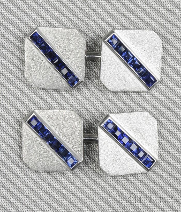 Platinum and Sapphire Cuff Links