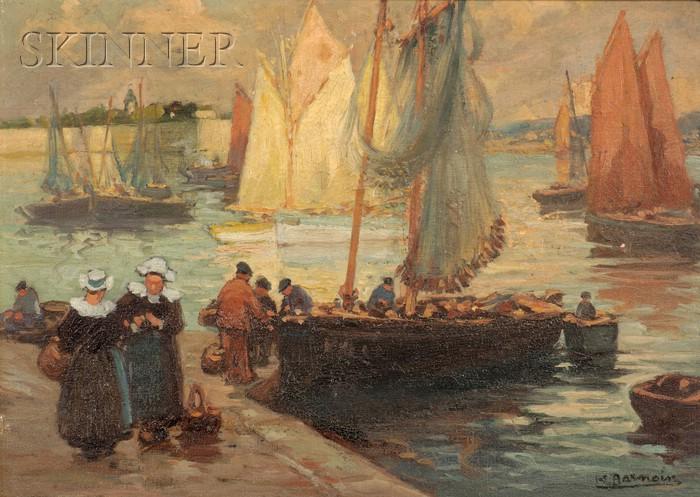 Henri Alphonse Barnoin (French, 1882-1940)      Along the Quay